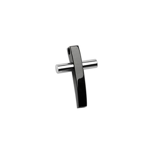 Stainless Steel 2 Tone Black and Sliver Cross Pendant (20 mm Width)