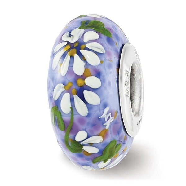 Sterling Silver Reflections Daisies on Blue Iris Frit Fenton Glass Bead (4.5mm Diameter Hole)