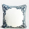 """G Home Collection Luxury Sky Blue European Frame Embroidered Pillow 22""""X22"""" - Thumbnail 0"""