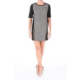 Dex Womens Tweed Faux Leather Party Dress
