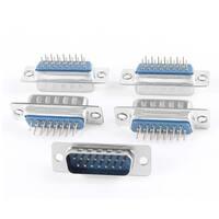 Unique Bargains DB-15 Double Row 180 Degree Mounting Hole D-Sub PCB Connector Male Plug 5 Pcs