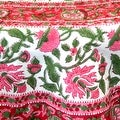 Handmade Lotus Flower Block Print 100% Cotton Tablecloth Red 60x60 Square 60x90 REctangle 72 Inch Round - 60 x 90 inches - Thumbnail 4