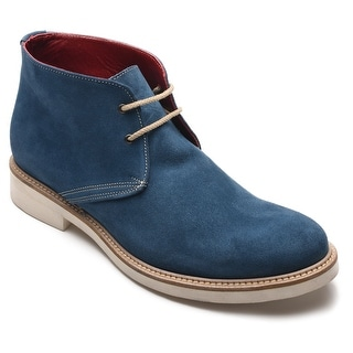 Alexander Men's Suede Leather Western High Tops Twilight Blue Oxfords Shoes