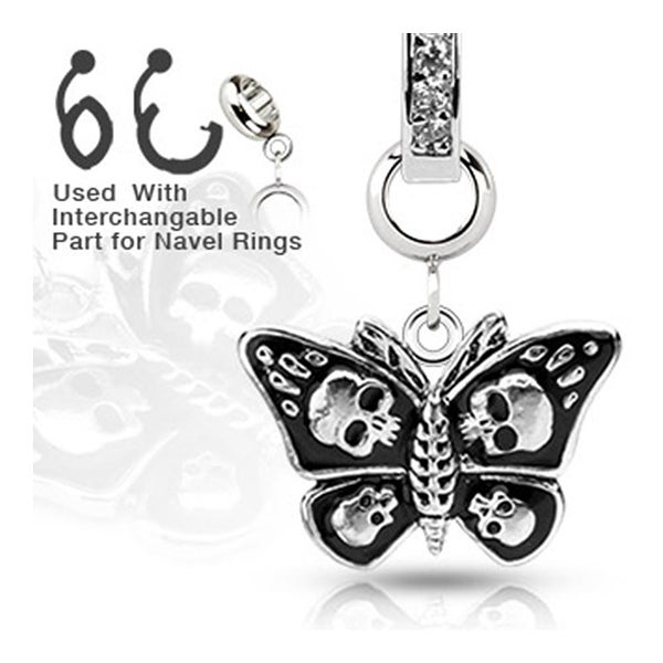 Add-On Stainless Steel Death Head Moth Dangle Charm for Navel Belly Button Ring, Dermal Anchors and More