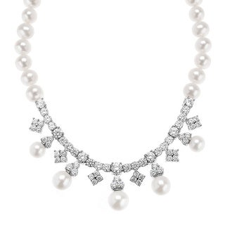 Freshwater Pearl Strand Garland Necklace with Swarovski Zirconia in Sterling Silver