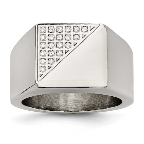 Chisel Stainless Steel Polished with Crystals Ring
