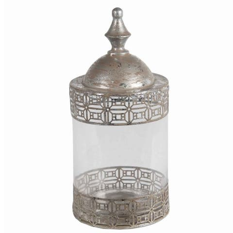 Round Glass Jar with Geometric Metal Pattern and Finial Top, Medium, Silver