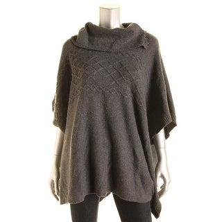 NYDJ Womens Poncho Sweater Wool Blend Cable Knit