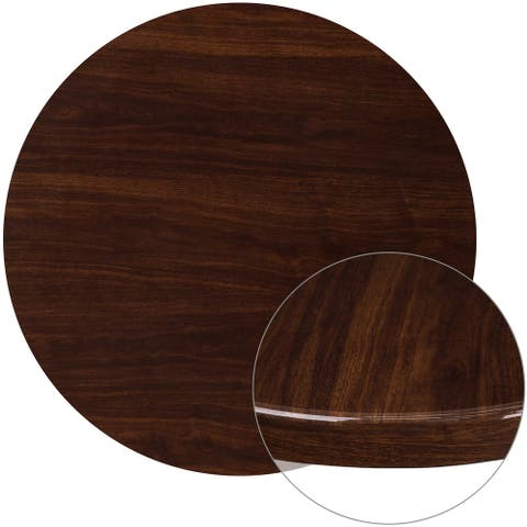 """36"""" Round High-Gloss Walnut Resin Table Top with 2"""" Thick Drop-Lip - 36""""W x 36""""D x 2""""H"""