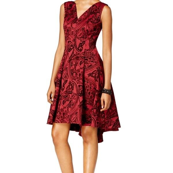 Shop Slny New Red Black Womens Size 14 V Neck Pleated Hi