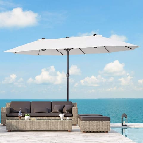 Outsunny 15' Steel Rectangular Outdoor Double Sided Market Umbrella, Base Not Included