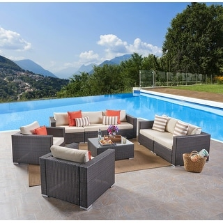 Link to Santa Rosa Outdoor 7 Seater Wicker Sofa Chat Set by Christopher Knight Home Similar Items in Patio Sets