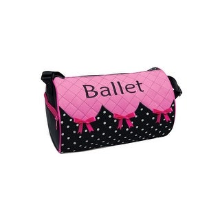 "Danshuz Girls Black Pink Ribbon Bows 'N' Ballet Quilted Duffel 12""x 7.5"" - One size"