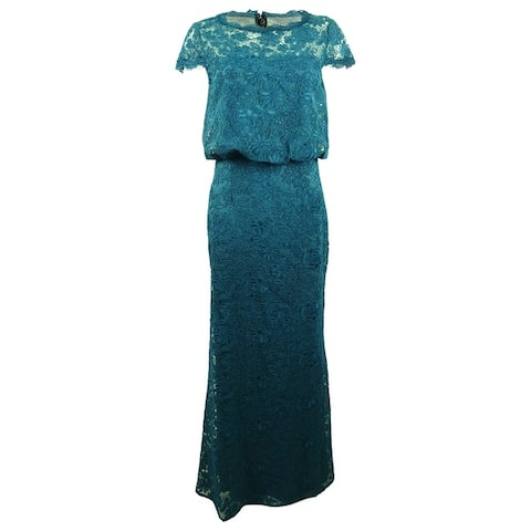 JS Collections Women's Illusion Soutache Gown - Teal