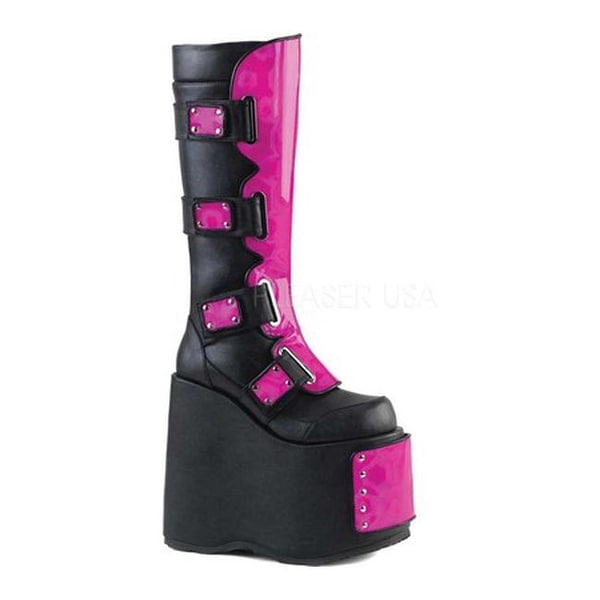 0d2566cf419 Shop Demonia Women s Slay 310 Knee High Boot Black Vegan Leather Pink  Holo Lime Fishnet - Free Shipping Today - Overstock - 21107968