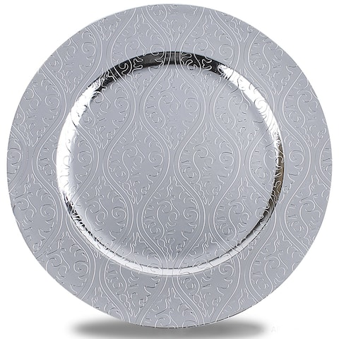 Round Plastic Charger Plate With Electroplating Finish, Silver