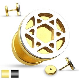 Hollow Star Cut Out Two Tone Fake Plug 316L Surgical Steel (Sold Ind.)