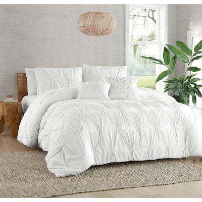 Garment Washed Ruched Elastic Ultra Soft 5 PC Comforter Bedding Set