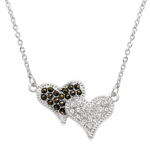 Crystaluxe Double Heart Necklace with Marcasite & Swarovski Crystals in Sterling Silver - White