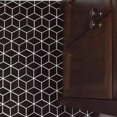"SomerTile Metro Rhombus Glossy Black 10.5""x12.13"" Porcelain Mosaic Floor and Wall Tile (10 tiles/9.04 sqft.)"