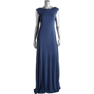 Vera Wang Womens Evening Dress Cowl Back Cap Sleeves - 4