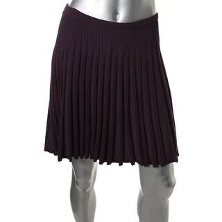 Diane Von Furstenberg Womens Knit Ribbed A-Line Skirt - M