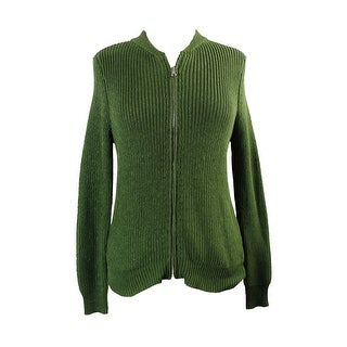 Ny Collection Green Metallic Sweater Jacket XL
