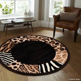 "Black High Density Double Shot Drop-Stitch Carving Exotic Animal Skin and Nature. Safari Woven Round Area Rug (6' 7"" x 6' 7"")"