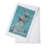 Edisto Beach, SC - Dolphins - LP Artwork (100% Cotton Towel Absorbent)