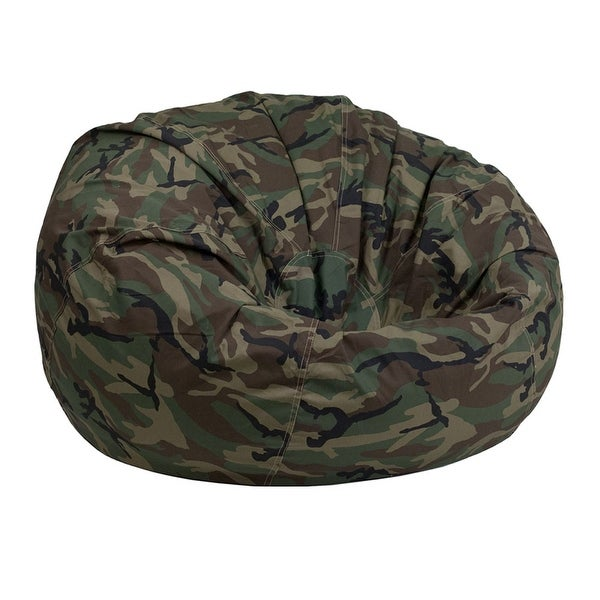Offex Oversized Portable Cotton Upholstered Kids Bean Bag Chair - Camouflage
