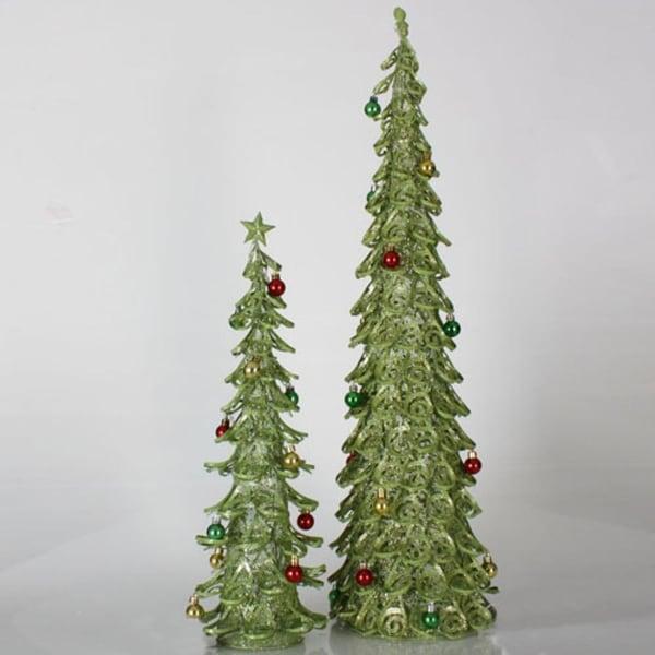 Set of 2 Christmas Brights Lime Green Glitter Mesh Christmas Trees 2', 3'