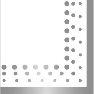 """Club Pack of 192 Sparkle and Shine Silver Paper Party Disposable 2-Ply Lunch Napkins 6.5"""""""
