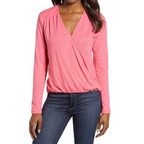 Caslon Pink Honey Womens Size Large L Faux-Wrap Hi-Low Knit Top