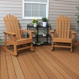 Sunnydaze Classic Wooden Adirondack Rocking Chair with Cedar Finish Set of 2
