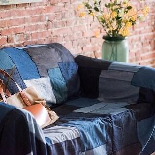 RusticReach Patchwork Cotton Fabric in Blue