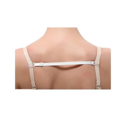 Women Elastic Band Non-Slip Adjustable Bra Straps Holder 10 Pcs - White