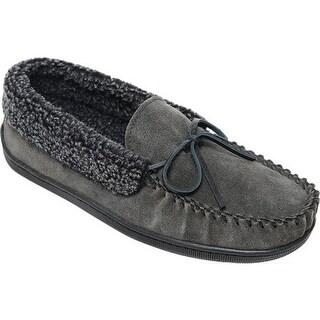 Minnetonka Men's Allen Moccasin Slipper Charcoal Suede