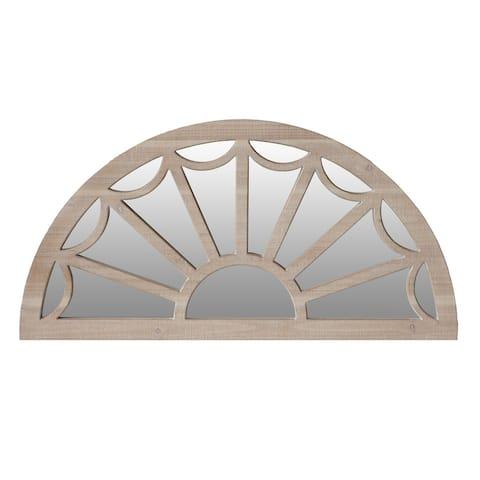 Window Pane Design Half Crescent Moon Shaped Wooden Wall Mirror, Brown