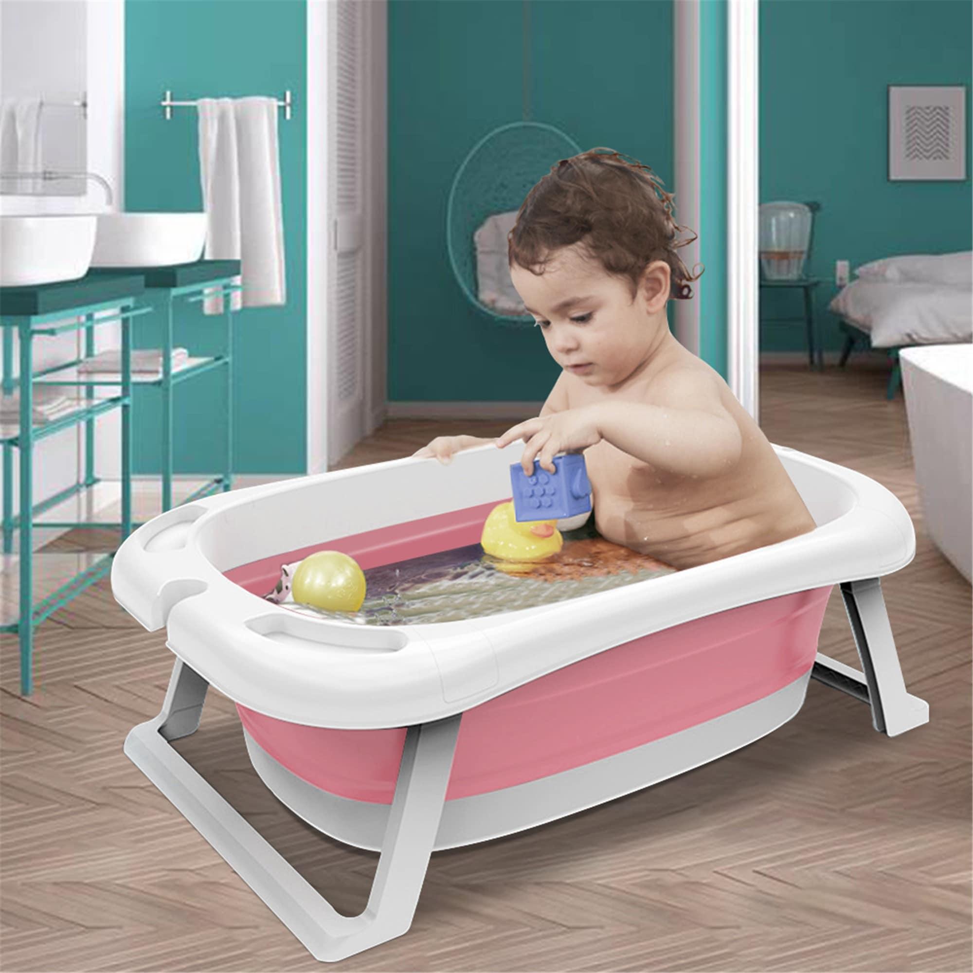 Shop Black Friday Deals On Portable Baby Bathtub Bath Tub Foldable Travel Shower Basing For Newborn Infant Kids Pink Overstock 31717412