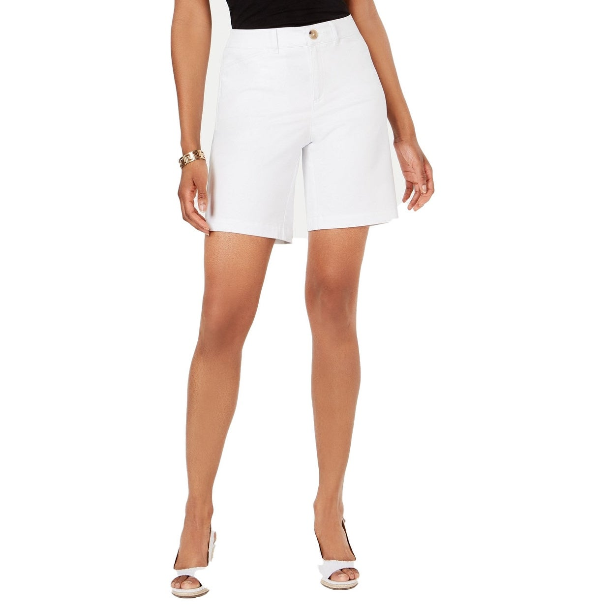Charter Club Women S Mid Rise Twill Shorts Bright White Size 18 10 Overstock 29011043
