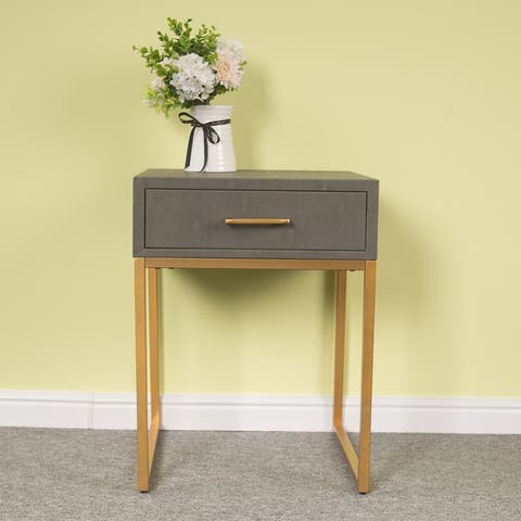 Modern Leather Nightstand with Drawer