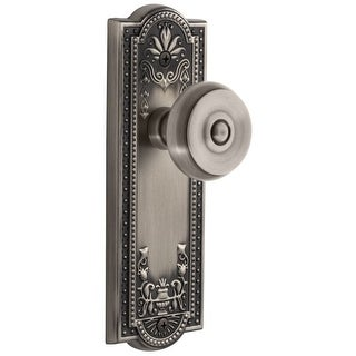 "Grandeur PARBOU_PRV_234  Parthenon Solid Brass Rose Privacy Door Knob Set with Bouton Knob and 2-3/4"" Backset"