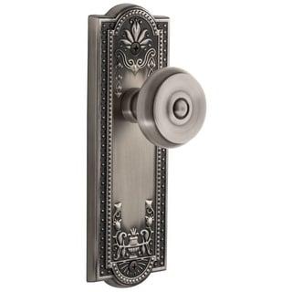 "Grandeur PARBOU_PRV_238  Parthenon Solid Brass Rose Privacy Door Knob Set with Bouton Knob and 2-3/8"" Backset"