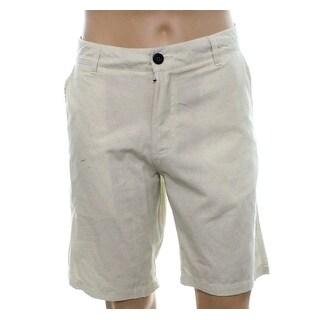 Ezekiel NEW White Ivory Mens Size 34 Khaki Chino Line Print Shorts