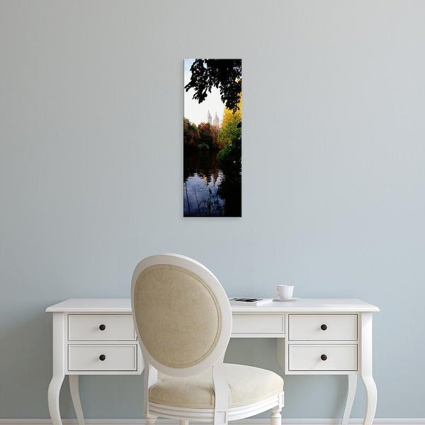 Easy Art Prints Panoramic Image 'Reflection of buildings in water, Central Park, Manhattan, New York City' Canvas Art