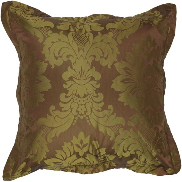 """18"""" Royal Jewel Bronze and Olive Decorative Throw Pillow Down Filler"""