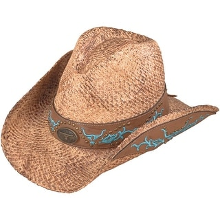 b9b56f8bc Henschel Hand Stained Raffia with Embroidery Western Cowboy Hat |  Overstock.com Shopping - The Best Deals on Women's Hats