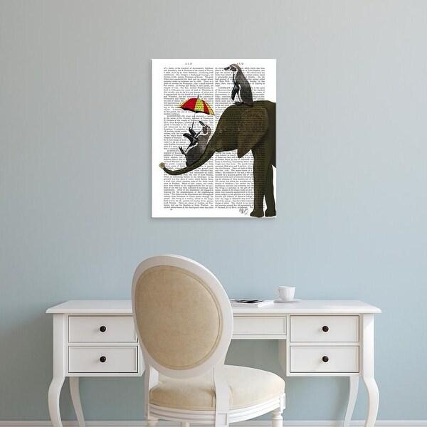 Easy Art Prints Fab Funky's 'Elephant and Penguin' Premium Canvas Art