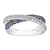 5/8 ct Natural Sapphire & 1/3 ct Diamond Overlapping Band Ring in 14K White Gold