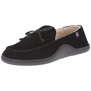 Isotoner Mens Suede Fleece Lined Moccasin Slippers - XL